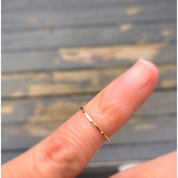 Pinky Ring or Toe Ring Stacking Band Adjustable and Made to Order Stacking Hoops and Bands for Pinky and Toes Hammered