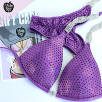 Purple Bikini Competition Suits by Vicky Ross Fit | Posing Swimsuit w Crystals | Rhinestone Connectors | Stage Contests Fitness NPC IFBB