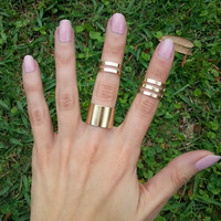 Set of 3 Gold or Silver Thick Wide Band Rings Adjustable layering Above the knuckle Midi stacking trendy statement jewelry mid stackable