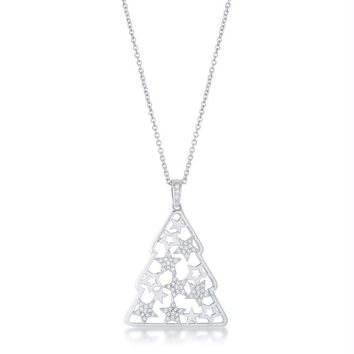 .2 ct CZ Rhodium Christmas Tree With Mixed Stars Pave Holiday Pendant