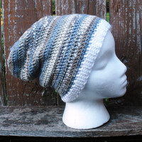 Unisex crochet slouchy tam beanie hat in  blue and natural with white trim, ready to ship.