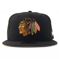 Chicago Blackhawks New Era 5950 Fitted Hats (TEAM COLORS GRAY UNDER BRIM) – NHL Grey Bottom Fitteds – Custom 59Fifty Caps
