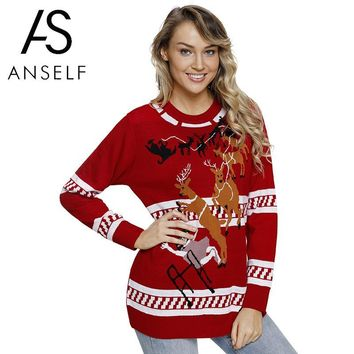 Women Knitted Ugly Christmas Sweater Reindeer Snowflake Tree Patterns Warm Autumn Winter Funny Pullover Pull Hiver Femme 2018