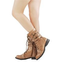 Diva Lounge Tina02 Camel Military Mid Calf Boots and Womens Fashion Clothing & Shoes - Make Me Chic