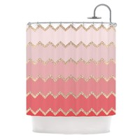 "Kess InHouse Monika Strigel ""Avalon Coral Ombre"" Pink Chevron Shower Curtain, 69 by 70-Inch"