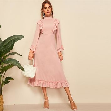 Abaya Pink Mock Neck Ruffle Trim High Waist Maxi Dress Women  Solid Fit and Flare Elegant Modest Dresses