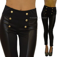 Black Liquid High Waist Gold Button Sailor Stretch Skinny Shiny Tight Hot Pants