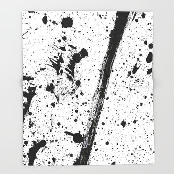 Whoops, Ink on white! Throw Blanket by Casemiro Arts - Peter Reiss