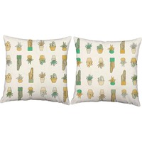 Succulent Cacti Throw Pillows