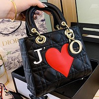 Dior New fashion love heart leather shoulder bag crossbody bag handbag women Black