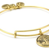 "Alex and Ani Bangle Bar ""Tree of Life"" Rafaelian Gold Finish Expandable Bracelet"