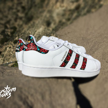Custom Adidas Superstar For Men And Women Adidas Custom Hand Painted Floral Design Unisex Sizes A