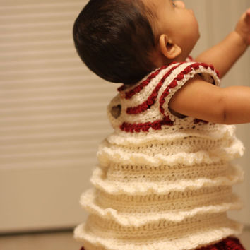 Crochet Ruffle Dress For Newborn to Toddler Size by dewdropsdesign