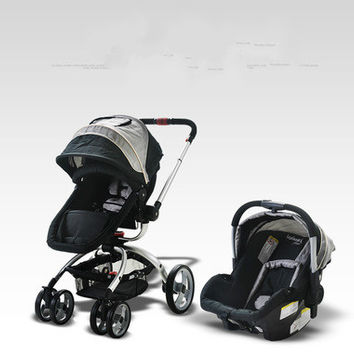 High landscape baby stroller can sit lying and sleeping baby basket basket four a two-way suspension trolley