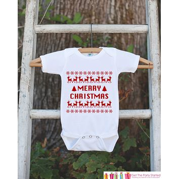 Merry Christmas Outfit - Christmas Onepiece - Baby's First Holiday Christmas Ugly Sweater Party - Newborn Christmas Bodysuit for Boy or Girl