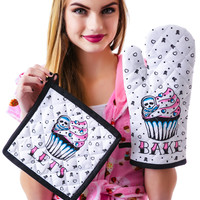 Sourpuss Clothing Lets Bake Kitchen Set White One