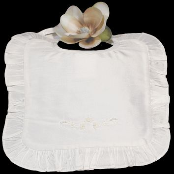 Silk Dupioni Handmade and Floral Embroidered Bib with Ruffle Trim (Infant Girls)