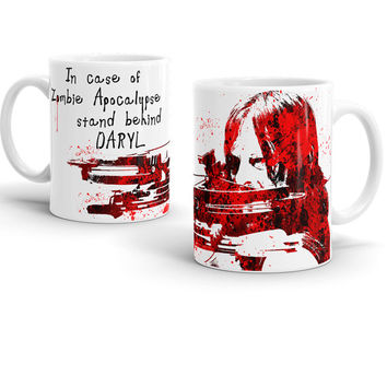Walking Dead Mug, Daryl Dixon Watercolor Art, Gift for the Walking Dead lovers, TWD