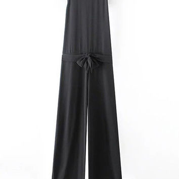 Black High Neck Cutout Back Siamese Trousers With Belt