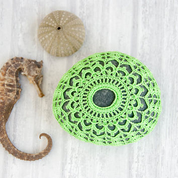 art object // crochet lace stone // chartreuse sea urchin // dark blue gray river rock // cottage chic // Wedding decor