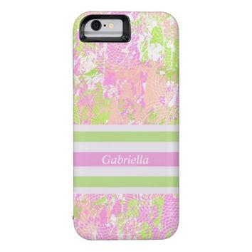 Personalized Pink Green White Abstract Print Case