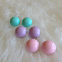Three Pairs of Vintage Pastel Button Earrings - 80s, Studs, Metal, Pink, Purple, Blue, Retro, Fun, Round, Circle, Posts, Acrylic