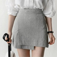 Asymmetrical Houndstooth Skirt