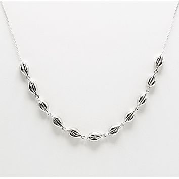 """Solid 925 Sterling Silver Seashell Necklace 42-46 cm / 16.54'' -18.11"""" with extension"""