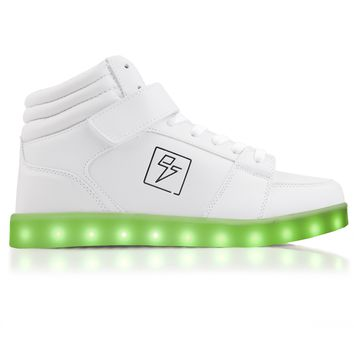 Bolt White - High Top LED Shoes