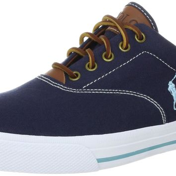 Polo Ralph Lauren Men's Vaughn Canvas/Leather Lace up casual Navy 9 D(M) US '