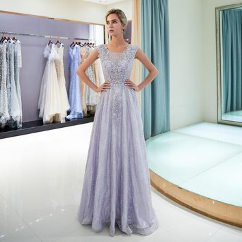 Lavender Lace Evening Dresses Beaded Bodice Sleeveless A-line Long Cut Out Party Prom Gowns