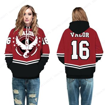 Red Team Valor Womens Hoody Tracksuit Autumn Pokemon GO Skateboarding Hoodies Winter Loose Moltres Sport Suit Oversize Tracksuit