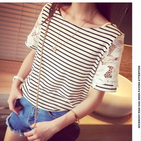 Black and White Stripe Lace Sleeve Top