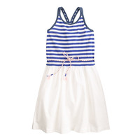 GIRLS' STRIPED BELTED DRESS