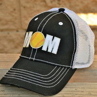 Softball Mom hats with or without mesh backs, M's are done in your team colors and rhinestone softball