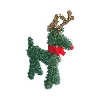 MDIGMS9 5' Rudolph the Red-Nosed Reindeer with Bow Artificial Pine Christmas Figurine