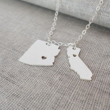 Best Friends Gift,Silver Two States Necklace, Two Countries Necklace,State Necklace for Moving Gift,Small TWO States Pendant on a Necklace.