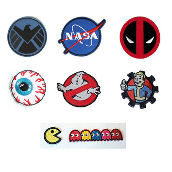 NASA Shield MISHKA Patch Sew or Iron on Garment Deadpool GHOSTBUSTERS Thumbs Up Brotherhood Pac-man ghosts Embroidered DIY Badge