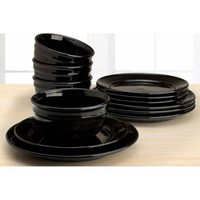 Amelia 12-Piece Solid Color Dinnerware Set, Rich Black - Walmart.com