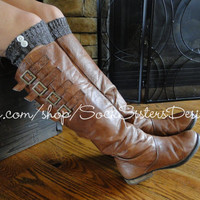 Boot Sock - in Brown with Cream Speckles - Coconut, Tan or Creme Buttons-  Sock Sisters Knee High Boot Sock