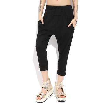Casual Cotton Hrajuku Hip Hop Black Harem Slim Palazzo Baggy Sweatpants Skinny Elastic Waist Pencil Pants for Women Trousers