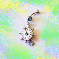 "Belly Ring, Nautical Stern Ship Wheel, SteamPunk, "" White Clock"" Watch with Parts, and Dangling Wheel, Belly Button Jewelry, OR NECKLACE"