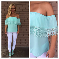 Mint Eyelet Off Shoulder Top