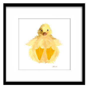 Duckling Nursery Art, Printable Kids Wall Art, Cute Yellow Duck, Print Your Own Art and Cards