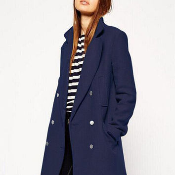 Long Sleeve Notched Collar Lapel Double Buttoned Woolen Coat