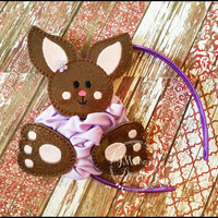 Oversized Glitter Chocolate Brown Bunny Headband Slider - Easter Bunny slider