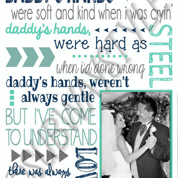 Father Daughter Dance ~ Wedding Song Lyrics ~ 1st Dance Gift for Dad Gift from Daughter ~ Daddy's Hands Lyrics ~ Printable Digital JPEG File