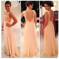 New 2016 A-line High Collar Floor Length Peach Chiffon Lace Long Bridesmaid Dresses Cheap Under 50 Wedding Party Dresses