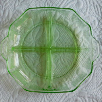 Vintage 1930s Anchor Hocking Princess Pattern Green Divided Depression Glass Plate Relish Tray Jewelry Holder Boho Decor Bohemian