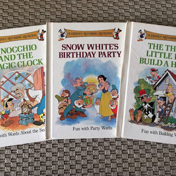 Vintage 1988 Set of (3) Disney Rhyming Readers - Snow Whites Birthday Party, The Three Little Pigs Build a House & Pinocchio and the Clock
